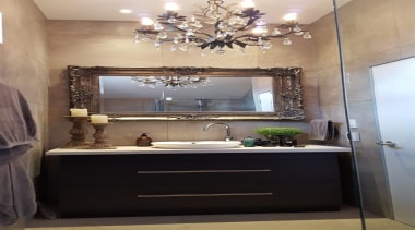 The client asked to renovate the main bathroom, bathroom, ceiling, countertop, home, interior design, room, sink, gray, black