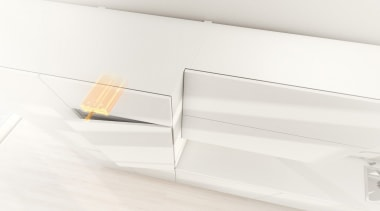 Electrical opening support system for handle-less integrated appliances. furniture, table, white