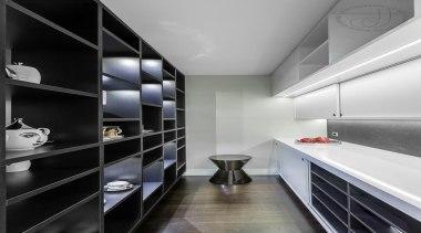 Sliding doors and open shelves make it easy architecture, countertop, interior design, kitchen, room, gray, black