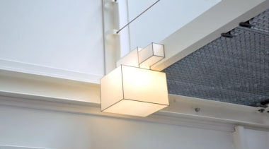 These clean-lined lampshades elegantly merge sculpture and illumination.What architecture, ceiling, daylighting, light fixture, lighting, product design, roof, wall, gray, white