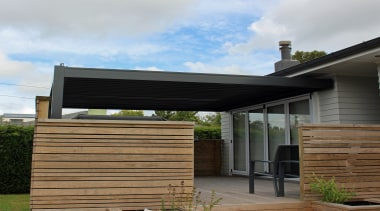 Matching the louvre roof colour to the homes daylighting, facade, house, outdoor structure, pergola, roof, siding, white, black