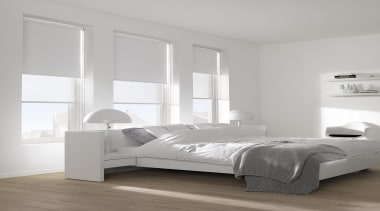 luxaflex roller blinds - luxaflex roller blinds - bed, bed frame, bed sheet, bedroom, floor, furniture, interior design, mattress, product design, wood, gray