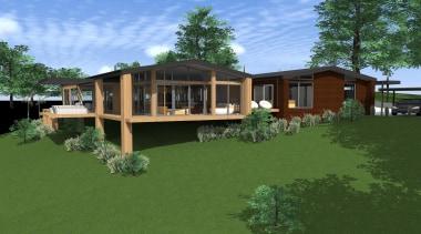 13 turner 2.jpg - Turner - architecture | architecture, backyard, cottage, elevation, estate, facade, grass, home, house, landscape, plant, property, real estate, residential area, yard, green