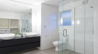 For more information, please visit www.gjgardner.co.nz bathroom, bathroom accessory, bathroom cabinet, floor, home, interior design, plumbing fixture, product design, room, tap, gray, white