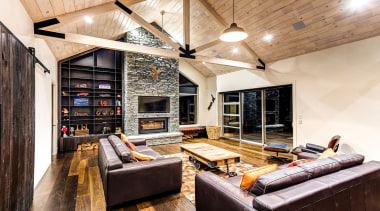 This home is stunning in so many ways. ceiling, interior design, living room, loft, wood, white, black