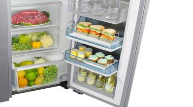 Refrigerator – Side By Side – SRS636SCLS Organize frozen food, home appliance, kitchen appliance, major appliance, produce, product, refrigerator, small appliance, gray, white