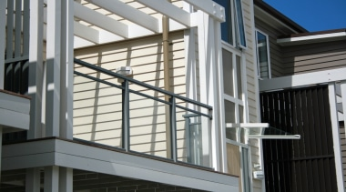 A close up view of the Edge balustrade balcony, building, commercial building, daylighting, facade, handrail, siding, structure, window, gray, black