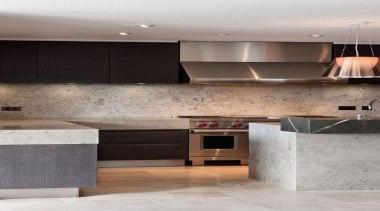 Limestone splash backs and benchtops - Jura Blue architecture, cabinetry, countertop, floor, flooring, interior design, kitchen, room, tile, gray