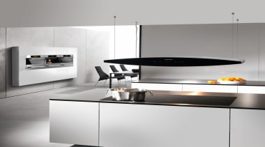 Another beautiful kitchen from Miele.Miele available at Kitchen countertop, exhaust hood, furniture, home appliance, interior design, kitchen, kitchen appliance, kitchen stove, major appliance, product design, small appliance, tap, white, gray