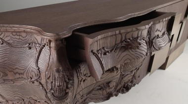 Many pieces of furniture mix traditional design with furniture, table, gray, black