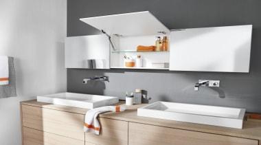 Lift System - AVENTOS HK XS - bathroom bathroom, bathroom accessory, bathroom cabinet, bathroom sink, interior design, plumbing fixture, sink, tap, gray