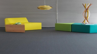 This low level loop pile has a ribbed angle, floor, flooring, furniture, product, product design, shelf, table, tile, yellow, gray