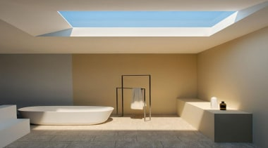 Take a close look at the skylight in architecture, bathroom, ceiling, daylighting, floor, home, interior design, lighting, product design, real estate, gray, brown