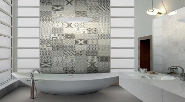 a mix of 28 different patterned tiles, randomly bathroom, ceramic, floor, flooring, interior design, plumbing fixture, room, tap, tile, wall, gray