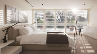 Mistique is a luxurious plush pile offering a architecture, bed frame, bedroom, ceiling, daylighting, floor, home, interior design, real estate, room, window, window covering, window treatment, wood, gray