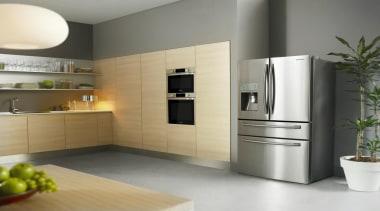 Refrigerator – French door – SRF679SWLSThe new Samsung home appliance, interior design, kitchen, kitchen appliance, major appliance, product design, refrigerator, gray