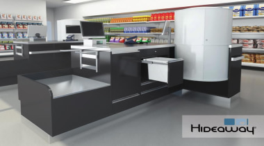 A 15L Hideaway Bin at a checkout makes display case, product, product design, retail, gray, black