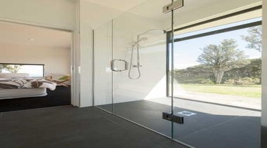 Shower chamber surrounded with glass wall - Shower architecture, bathroom, door, floor, glass, home, house, interior design, plumbing fixture, real estate, room, tile, wall, window, gray