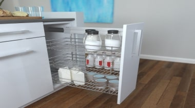 Giamo's Side Mounted Pull Out unit comes in drawer, furniture, product, product design, shelf, shelving, gray