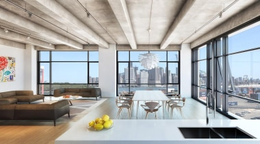 AA Studio is currently in the process of apartment, ceiling, condominium, daylighting, interior design, living room, loft, penthouse apartment, real estate, white