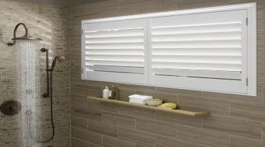 luxaflex newstyle polyresin shutters - luxaflex newstyle polyresin bathroom, interior design, window, window blind, window covering, window treatment, wood, white, gray