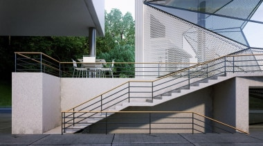 This home was designed for a retired pilot architecture, building, condominium, daylighting, facade, glass, handrail, house, stairs, structure, gray, black