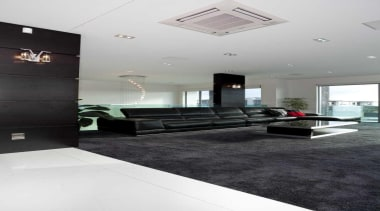Living room with black feature and a black architecture, ceiling, floor, flooring, interior design, white, black