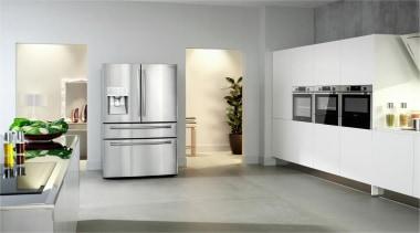 Refrigerator – French door – SRF679SWLSThe new Samsung floor, flooring, furniture, home appliance, interior design, kitchen, kitchen appliance, major appliance, product design, refrigerator, white, gray
