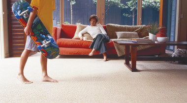 Beige carpeting for your living or family room floor, flooring, leg, leisure, play, sitting, table, vacation, white