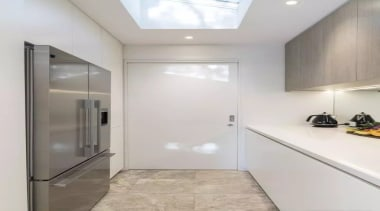 See the home ceiling, daylighting, floor, flooring, home, interior design, property, real estate, room, wall, gray