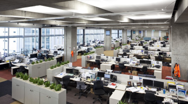 Greenery is also a feature of the office office, white, gray, black
