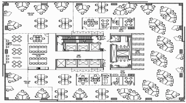Workstations are positioned around the perimeter of each area, black and white, design, drawing, font, line, line art, monochrome, pattern, product, text, white