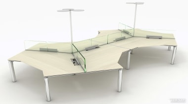 The 120 Degree workstation in the L-Series can angle, bed, bed frame, furniture, product, table, white