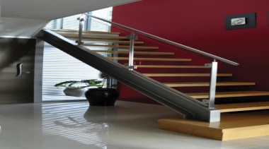 Hall Jalapeno - baluster | floor | glass baluster, floor, glass, handrail, interior design, stairs, structure, red, gray