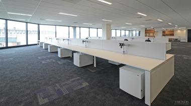 Furniture Lab provided furniture, desking and workstation solutions desk, floor, flooring, furniture, office, real estate, table, gray