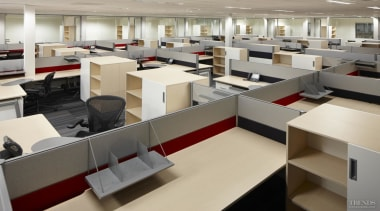 Office interiors have Australian-manufactured workstations, custom designed for furniture, interior design, office, gray