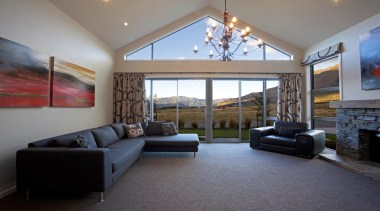 Designer lounge with large windows that frame the ceiling, estate, home, interior design, living room, property, real estate, room, wall, window, gray
