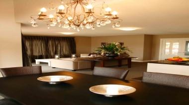 Family dining area in Temuka - Landmark Living ceiling, dining room, home, interior design, light fixture, lighting, living room, room, table, orange, brown