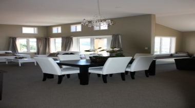 Black and white family dining area - Landmark ceiling, chair, dining room, floor, flooring, furniture, home, interior design, living room, room, table, window, gray, black