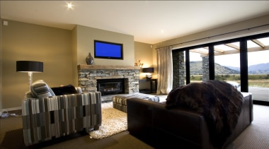 Natural colors design lounge with outside view in home, interior design, living room, property, real estate, room, black
