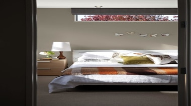 Main Bedroom Triple Truffle - bed | bed bed, bed frame, bed sheet, bedroom, furniture, home, interior design, mattress, room, wall, window, black, gray