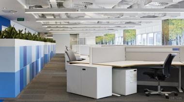 The Birch tree graphics adorn pillars at DNV desk, furniture, office, gray