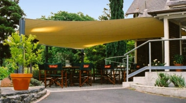 Shade Sail - awning | canopy | outdoor awning, canopy, outdoor structure, patio, property, real estate, shade, brown