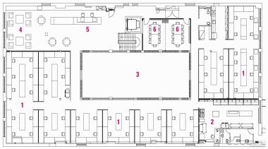 1 studio, 2 printing room, 3 lightwell, 4 area, design, diagram, drawing, floor plan, font, line, pattern, text, white