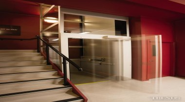 NZES has successfully installed the Cibes A5000 disability architecture, handrail, interior design, lobby, stairs, red, brown