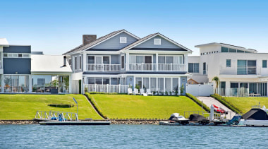 Highly Commended – Collins w Collins Building Designers cottage, estate, home, house, marina, property, real estate, villa, water, water transportation, waterway, teal