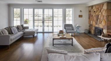 Highly Commended – Atria Designs – 2018 TIDA floor, flooring, hardwood, home, interior design, laminate flooring, living room, property, real estate, room, table, window, wood, wood flooring, gray