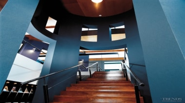 To make stripping paint and filling holes, dents architecture, ceiling, daylighting, interior design, stairs, teal
