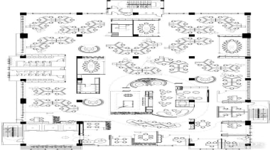 Approximately 150 workstations are positioned around the perimeter area, artwork, black and white, design, diagram, drawing, floor plan, font, line, line art, monochrome, pattern, plan, product, schematic, technical drawing, text, white