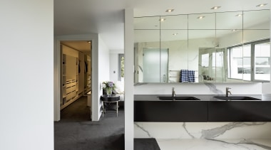 Drama was key in this bathroom renovation with